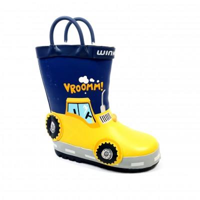 Chlapčenské detské zateplené gumáky Veselý traktor